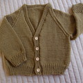 SIZE 3 (+)yrs :Hand knitted cardigan : Unisex, washable