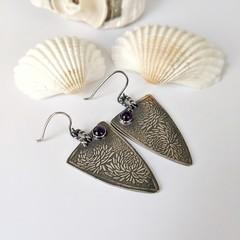 amethyst earrings with chrysanthemum pattern, sterling silver