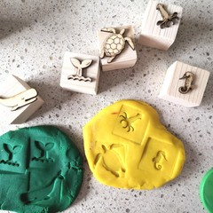 Timber Playdough Stamp Set Sea Creatures