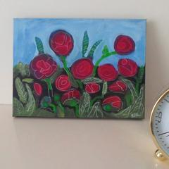 Red Flower Garden Original Artwork Ready To Ship