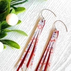 """Christmas Sweater"" Tassel, Genuine/Faux Leather Earrings"