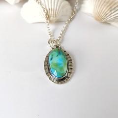 sanoran rose turquoise pendant, sterling silver