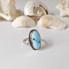 golden hill turquoise sterling silver ring, size Q