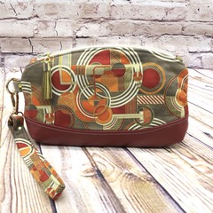 Taupe/Red Abstract Zip Pouch/Wristlet