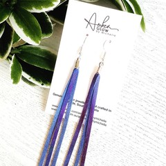 Spindly Tassels, Genuine Leather Earrings, Indigo Blue