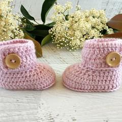 Dusty Pink Crochet Baby Booties Pregnancy Announcement Baby Reveal