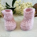 Dusty Pink Crochet Baby Booties Pregnancy Announcement Baby Reveal