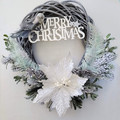 White Poinsettia on Willow Wreath - Merry Christmas Wreath - Gift for the Home