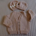 SIZE 2-3 yrs - Hand knitted cardigan with 2 matching beanies (1 free beanie)