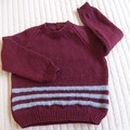 SIZE 4 -5 - Hand knitted jumper : Unisex, washable, OOAK