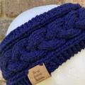 Navy alpaca knitted headband cable earwarmers navy hairband