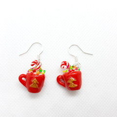 Miniature Christmas Mug dangle earrings with sterling silver hooks