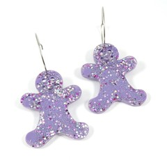 Christmas Collection - Gingerbread earrings - pastel colours - purple