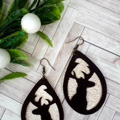Christmas, Rustic Reindeer Teardrop, Genuine Leather Earrings Chocolate/ Gold