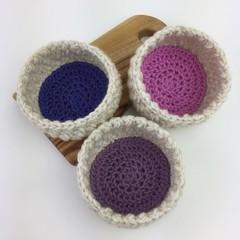 Trio of Crochet Trinket Basket | Natural | Purple | Pink | Hand Crocheted | Wool