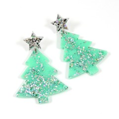 Christmas Collection - Christmas tree earrings - pastel colours - mint green