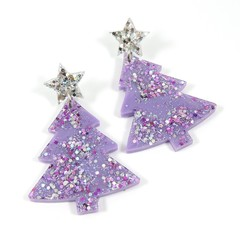 Christmas Collection - Christmas tree earrings - pastel colours - purple