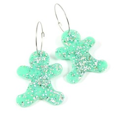 Christmas Collection - Gingerbread earrings - pastel colours - mint green