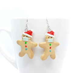 Miniature Gingerbread dangle earrings with sterling silver hooks