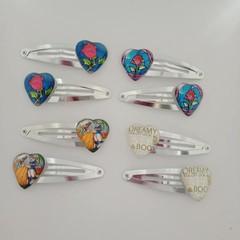 Romantic heart shaped silver snap hair clips