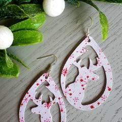 Christmas Reindeer Teardrop, Faux Leather Earrings Red/ White Snowflake