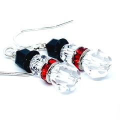 Swarovski Crystal Snowman Dangle Earrings with Sterling Silver Hooks