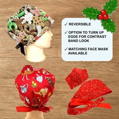 Scrub Cap | Christmas | Available with buttons | Washable scrub hat, surgical sc
