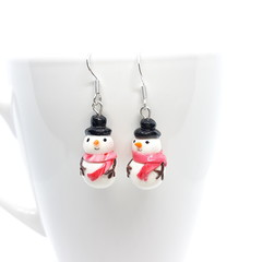 Snowman dangle earrings with sterling silver hooks, Christmas Earrings