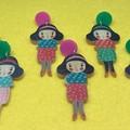 Wooden girl  earrings