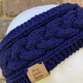 Navy alpaca knitted headband cable earwarmers navy hairband