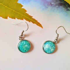 Teal and White Silver Drops Finished in Resin