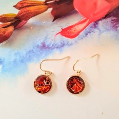 Hand Painted Rose Gold Drops Finished in Resin