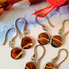 Brown and Golds in a Silver Drop Earring