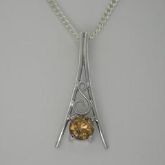 Solid 9ct White Gold Zircon Pendant