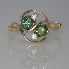 Solid 9ct Yellow Gold Green and Blue Sapphires and Diamond Ring