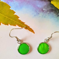 Fern Green Silver Drops Finished in Resin