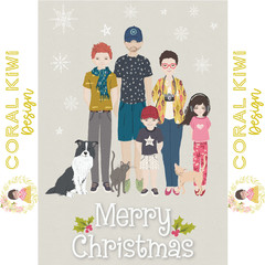LIMITED TIME -Personalised printable family digital christmas card - 300dpi