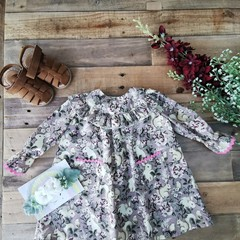 Bunnies in a Country Garden Ruffle Girls  Dress Pockets Size 6 - 9 M and 9 -12 M