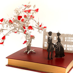 Mr Darcy and Elizabeth book sculpture