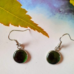 Dark Forest Green Silver Drops Finished in Resin