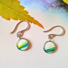 White and Green Silver Drops Finished in Resin