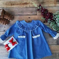 Denim Ruffle Girls  Dress Pockets Size 6 - 9 M and 9 - 12 M
