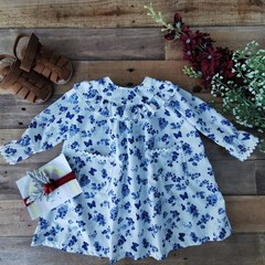 Blue Butterflies in a CountryGarden Ruffle Girls  Dress Size 6 - 9 M and 9 -12 M
