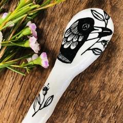 Magpie ceramic  spoon