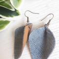 Pinched Petal, Denim & Genuine Leather Earrings, Black/ Tan