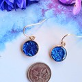 Blue Sparkly Rose Gold Drop Earrings- Let's Party