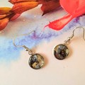 Black and Gold in a Silver Drop Earring
