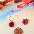 Pink Hand Painted Rose Gold Drops Finished in Resin
