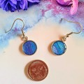 Blue and Mauve Silver Drop Earrings