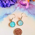 Pale Blue and Sparkly Silver Drop Earrings
